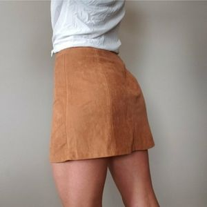 Bershka Tan Brown Faux Suede A-Line Mini Skirt XS